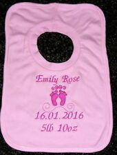 Personalised Embroidered Baby Feet Motif Bib Pink. Lovely Gift, Present newborn
