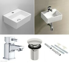 Cloakroom Basin Sink Square Corner Small Wall Hung + Square Tap Mixer + PopWaste