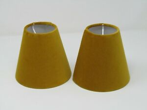 Lampshade Mustard Yellow Velvet Small Candle Clip Tapered
