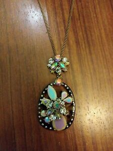 Long J CREW Necklace resin crystals Pink Acrylic Pendant Rhinestone 32""