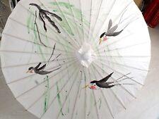 Japonais Chinois XXL 102cm Hirondelle Oiseau & Saule Papier Blanc Parasol