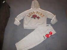 NWT VICTORIA'S SECRET PINK BLING OUTFIT LACE UP HOODIE CLASSIC PANT LARGE ROSES