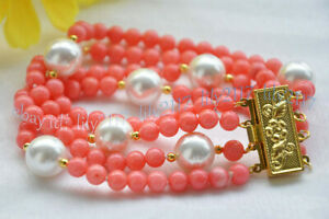 Charming 4 Rows 6mm Pink Coral &12mm White Shell Pearl Round Beads Bracelets 8''