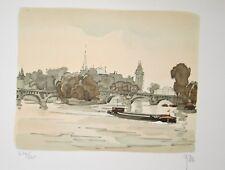 L'ile de la cité Paris : Lithographie originale signée de YAN Robert