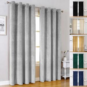 Blackout Window Curtains Panels Velvet Solid Drapes Living Room Bedroom Home