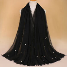 Women Imitation Pearl Headwear Amira Islamic Long Scarf Muslim Hijab Wrap Shawls