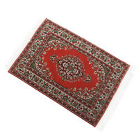 Red Miniature Woven Rug Carpet Furniture Decoration for 1/12 Scale Dollhouse