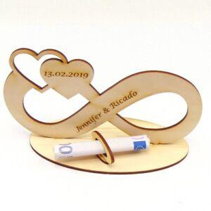 Geldgeschenk Unendlichkeit Holz Personalisiert zur Hochzeit, Verlobung, Geschenk