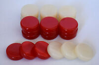 30 Small Acrylic Backgammon Checkers - Chips Red & Ivory 1 inch - High Quality