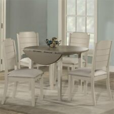 Hillsdale Clarion 5 Piece Round Extendable Dining Set in Gray