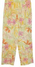 Talbots Petites Cropped Capris Pants Yellow Floral Print Silk Blend size 8
