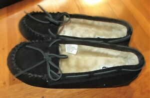 New Black Moccasin Women Ladies Suede Leather US size 9 Padded Slipper Shoe
