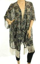 Nwt LuLaRoe Monroe Nero Frangia Kimono Farfalla Azteco TAGLIA S