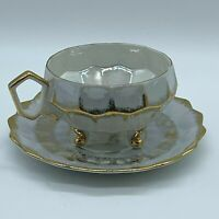 Royal Halsey 3 Footed Cup and Saucer Set Iridescent Gold Japan Cubist Bee Hive