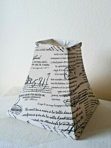 """Vintage French Print Canvas Eggshell and Black Reading Lamp Shade, Up to 5"""" Bulb"""