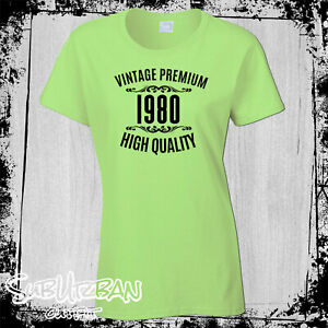 40th Birthday Gift for Women's T-Shirt Vintage 1980 High Quality Funny Gift