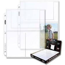 200 BCW 3 Pocket Postcard Photo Coupon Pages Sheets Holders