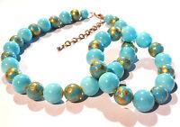 Bijou alliage doré  parure collier + bracelet perles céramique bleu necklace