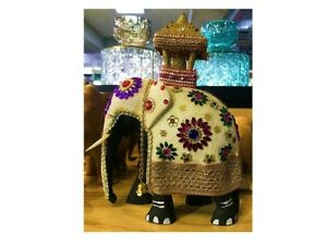 Hand Crafted Lucky Elephant Natural Carved Statue wooden Animal Office Decor