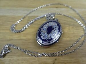 "VINTAGE MICHAELA FREY BLUE ENAMEL FLOWER LOCKET PENDANT on 30"" silver necklace."