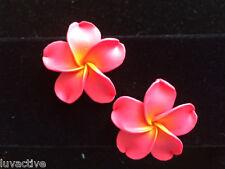 "Hawaiian Plumeria Flower Fimo Fashion Jewelry Post Earring SHERBET PINK 1.5"" 38m"