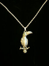 large vintage pewter pendant necklace parrot bird w green eye