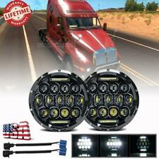 "Pair 7"" inch Round LED HALO Headlights Projector HI-LO Black for Kenworth T2000"