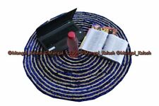 Indian cotton craft chindi area rug round recycled handmade braided reversible