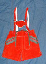 Vintage German Red Suede Leather Oktoberfest Lederhosen Shorts KIDS