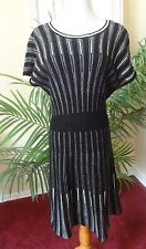 French Connection 12 Black & White Striped Sweater Dress Career to Evening