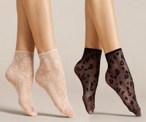 FIORE Doria Luxury 8 Denier Super Fine Decorative Leopard Patterned Socks