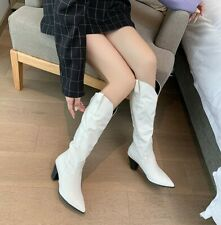 Womens Block Heels Knee High Riding Boots Pointed Toe Western Boots Shoes Big SZ