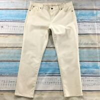 "Talbots Womens Jeans size 16 Cream Slim Skinny Cropped Ankle x29"" Cotton Stretch"