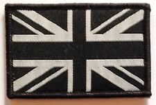 Sew On & Velcro Embroidered Patch Badge (Forces Style) Union Flag Black & Grey