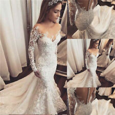 2018 Sexy Mermaid White Ivory Wedding Dress Lace Bridal Gown Custom Size 2-16