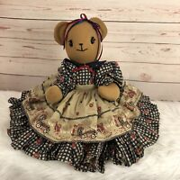 """Vintage Teddy Bear w/ Moveable Arms Legs 19"""" Unbranded Plush Toy Dress"""