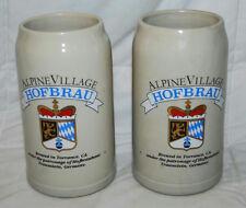 """LOT OF 2 ALPINE VILLAGE HOFBRAU OKTOBERFEST 8"""" BEER STEINS MUGS MADE IN GERMANY"""