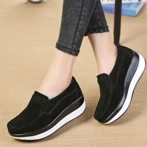 Women's Casual Thick Platform Slip On Loafers Shoes Wedge Creepers College Shoes