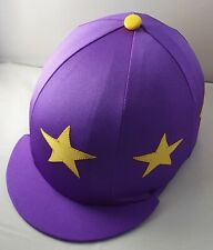 RIDING HAT COVER - PURPLE WITH YELLOW STARS & BUTTON