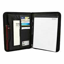 A4 Zipped Folder Conference Document Portfolio Leather Case Business Card Wallet