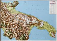 PUGLIA E BASILICATA CARTINA REGIONALE IN RILIEVO [99X72 CM] [MAPPA/CARTA] L.A.C.