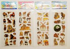 3D Sticker Wilde Tiere Aufkleber Afrika Tiger Löwen Elfeanten für Kinder basteln