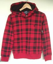 BNWT POLO By Ralph Lauren Womens Jumper Hoodies -Checked Red/Blk S Rrp $279