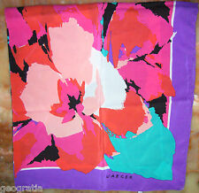 Vintage Jaeger Silk Scarf Bright Colorful Floral Splashes Pattern