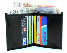 MENS RFID SAFE LEATHER ULTRA SLIM MINI CREDIT CARD NOTE CASE WALLET BLACK 122