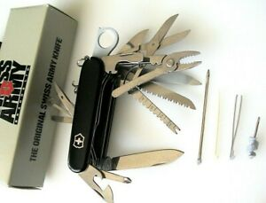 1990s VICTORINOX MODEL 53503 BLACK SWISSCHAMP w/LEATHER ZERMATT POUCH 33211, NOS