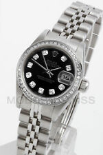 Rolex Ladies Datejust Steel Black Diamond Dial & Bezel Jubilee Oyster Perpetual