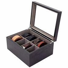 Belt Box Valet Storage Organizer 8 XL Compartments Black Glass Top Wood