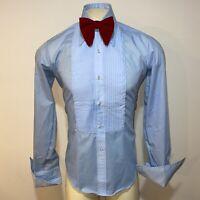 Vtg 70s AFTER SIX Tuxedo Shirt BLUE Ruffles TUX Dress Retro Prom Mens 15 35 36