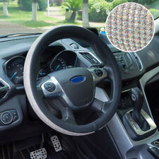 38cm/15in Car Steering Wheel Cover PU Leather Shiny AB Color Crystals Skidproof